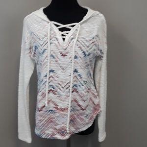American rag lace up front Aztec print hoodie top